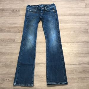 2/$40 American Eagle jeans slim boot stretch long